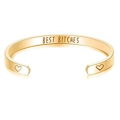 Beydodo Armreif Uhr Damen mit Spruch Best Bitches Herz Armreifen Edelstahl Gold