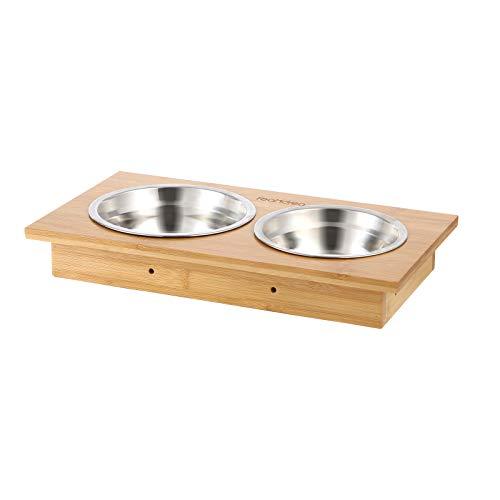 FEANDREA 猫皿 ペットボウル 猫用食器 ペット食器 3つ高さ調節可能?食器台 ステンレスフードボウル 天然木 食べやすい 滑り止めマット付 NPRB004N01