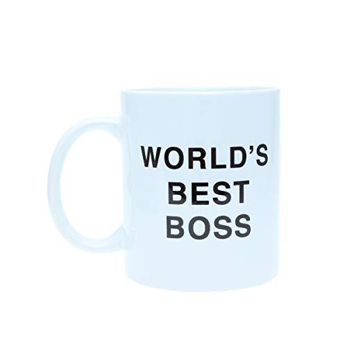 DOITOOL Taza de cerámica 350 ml Dunder Mifflin Worlds Best Boss Copa de agua Personalidad Oficina Taza de café (blanco)