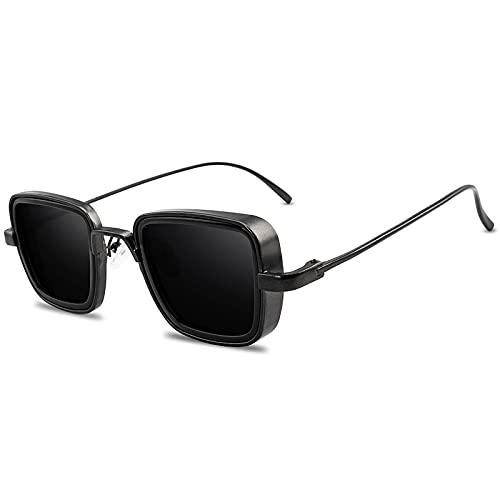ShZyywrl Gafas De Sol Gafas De Sol Clásicas Góticas Punk para Hombre, Gafas De SolCuadradas Vintage paraHombre, Gafas Geniales con Espejo, Blackfgray