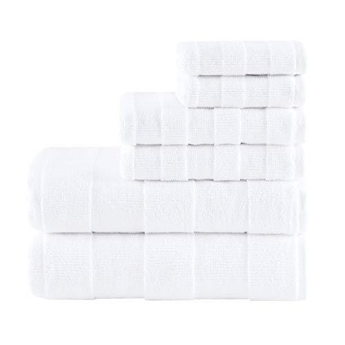 MADISON PARK SIGNATURE Parker Textured Solid Stripe 600GSM Cotton Bath Towel 6PC Set, 28x54, White