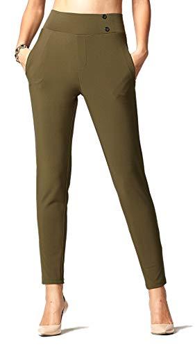 Conceited Premium - Pantalones de Vestir elásticos para Mujer, diseño Delgado o Corte de Arranque, Comodidad Todo el día en sólidos y Rayas por, Slim Buttons Olive, X-Large
