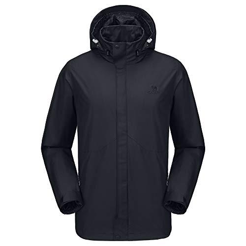 CAMEL CROWN - chamarra impermeable para hombre con capucha cortavientos y cortavientos, para exteriores, senderismo, escalada, viajes,  Negro (Black-1), Large
