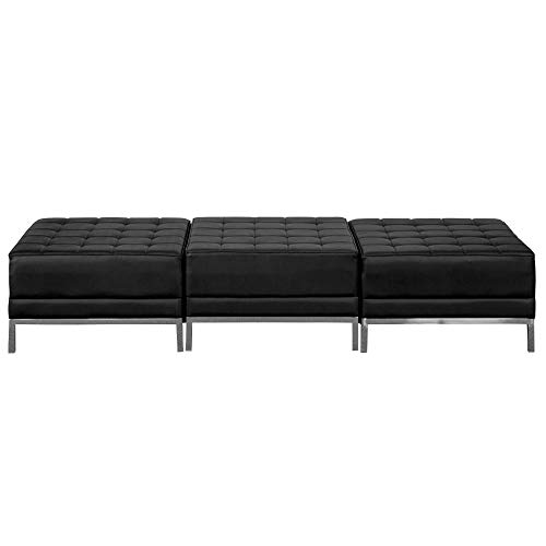Flash Furniture HERCULES Imagination Series Black Leather Three Seat Bench