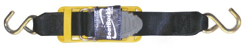 BoatBuckle Pro Series Kwik-Lok Transom Tie-Down (2-Inch x 4-Feet, Black), Pack of 2