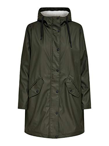 ONLY Damen Regenmantel OnlSally Raincoat mit Teddyfell, Farbe:Grün, Größe:XS