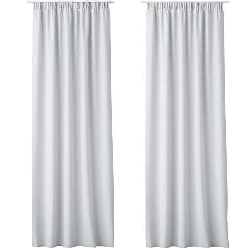 JEMIDI Vorhang mit Kräuselband Schal Gardine Universalband 140cm x 250cm Dekoschal Gardinenband Weiß 2 Stück