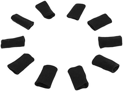 Fingerschutz, Ärmelschutz 10 Stück Fingerhülse elastisch, Bandagen Finger, Fingerhülle Schutz Fingerband zum Schutz Bei Arthritis und Beim Sport (Black)