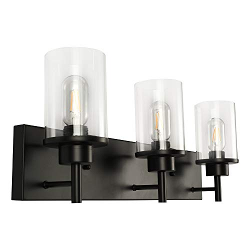 LMSOD 3 Lights Bathroom Vanity Light fixtures, Modern Wall Lamp with Clear Glass Shade for Bedroom Living Room Hallway Kitchen Stairs, Black