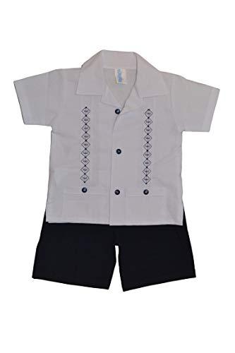 Baby Guayabera Set, (Short & Shirt) 2 Pcs (White/Navy Blue, 18 Months)