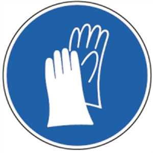 Aufkleber Handschutz benutzen gemäß ASR A1.3/ BGV A8, Folie selbstklebernd 2cm Ø 10 Piktogramme (Handschuhe, Schutzkleidung) praxisbewährt, wetterfest