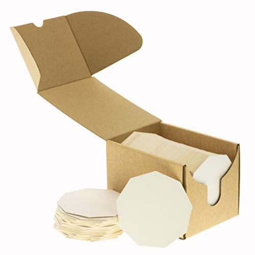 ZeZaZu 11 cm Nonagono pesante bianco carta pulpboard assorbente sottobicchieri (confezione da 50) per bevande, progetti fai da te, carta letterpressa, piastrelle Zen e mini Art Board, bianco, Coasters
