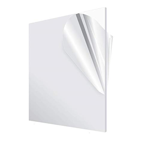 AdirOffice Acrylic Plexiglass Sheet 12''x12'' 1/8'' Thick - Transparent, Plastic Sheeting - Durable, Water Resistant & Weatherproof - Multipurpose & Ideal for Countless Uses, Clear Product Name
