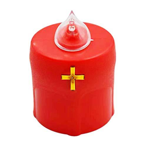 xunniu Senza Fiamma LED A Lume Di Candela (lumino) Croce Rossa Cimitero Della Chiesa Simulazione Resistente Alle Intemperie Per 150 Giorni (1 Pezzo)