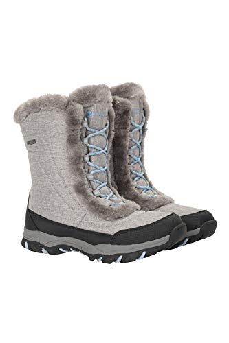 Mountain Warehouse Botas de Nieve para Mujer de Ohio: Zapatos de Invierno a Prueba de Agua, Parte Superior de Tela, Forro y Suela de Goma Isotherm Transpirable y Duradero Gris Claro 39