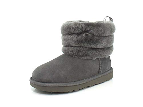 UGG Kid's Female Fluff Mini Quilted Classic Boot, Charcoal, 12 (UK)