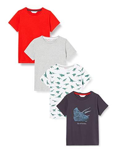 Amazon-Marke: RED WAGON Jungen Slogan-T-Shirt mit rundem Ausschnitt, 4er-Pack, Mehrfarbig (Dino), 128, Label:8 Years