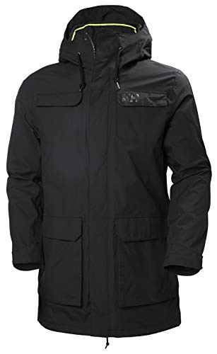 Helly Hansen Men's Captains Waterproof Windproof Hooded Rain Parka Jacket, Black, Large