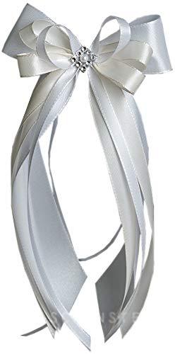 Antennenschleife Autoschleife Autoschmuck Hochzeit SCH0004 weiß creme champagner (10 Stück)