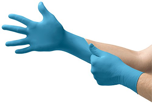 Ansell Touch n Tuff 92-675 Disposable Nitrile Gloves Chemical Protection, Latex-Free, Powder-Free Glove for Food Preparation, Mechanics or DIY Applications, Blue, Size Medium, Box of 100 Units
