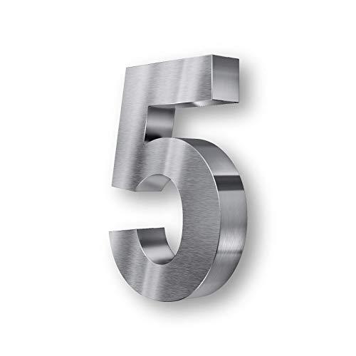 Metzler 3D Hausnummer Edelstahl - wetterfest & pflegeleicht - Außenbereich geeignet - mit Montagematerial - grob geschliffen (5)