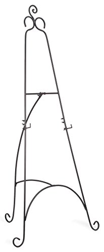 Floor Easel with Scroll Details and Height-Adjustable Hooks, Steel Construction, 76 inches Tall - Black