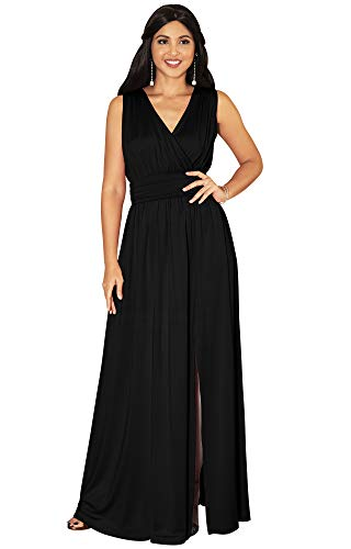 KOH KOH Womens Long Sleeveless Bridesmaid Cocktail Evening Maxi Dress