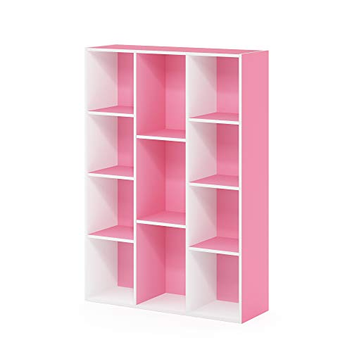 FURINNO 11-Cube Reversible Open Shelf Bookcase, White/Pink