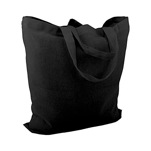Cottonbagjoe - Bolsa de algodón de yute sin impresión con dos asas cortas, 38 x 42 cm, certificado Öko-Tex 100 Standard, color negro, 10 unidades