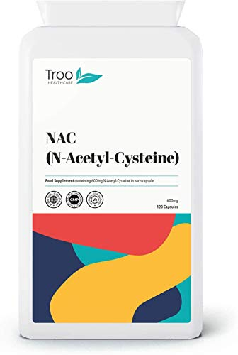 Troo NAC Supplement 600mg - 120 Capsules - N Acetyl Cysteine Amino Acid Providing Non Toxic Stable Form of L-Cysteine - UK Manufactured to GMP Standards