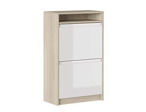 Iconico Home MIK Modern, Scarpiera doppia profondità con 2 ante e vano a giorno, Ingresso, Guardaroba, Portaoggetti, 60x30xh99,5 cm, Rovere