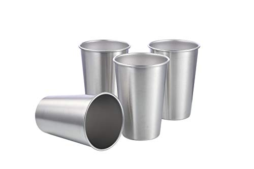 TDGOM 4 pack 16oz stainless steel cups shatterproof pint drinking cups metal drinking glasses for kids and adults, picnic cups(Silver, 500ml/16oz)