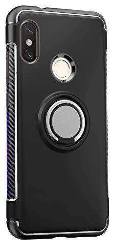 Capa Case Magnetica Imã Anti Impacto para Mi Max 3 (Tela 6.9), com Stand e Suporte Anel e Rotação, Carbon Fiber, TPU + PC Ultra Slim, Xiaomi Mi Max 3 (Tela 6.9) - Preto