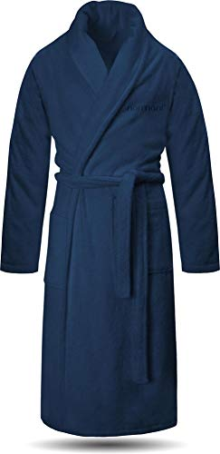 normani 100% Baumwoll Bademantel Saunamantel zweifarbig und einfarbig mit und ohne Kapuze für Damen und Herren [Gr. XS - 4XL] Farbe Marine Größe XL