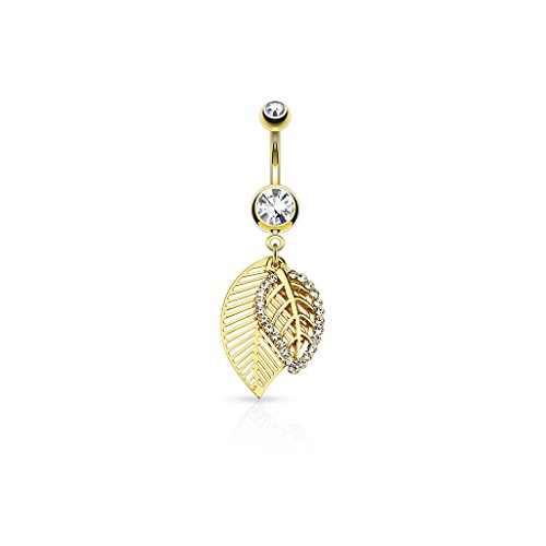 CZ Paved Leaves Dangle 316L Surgical Steel Jeweled Belly Button Navel Ring (Gold Tone)