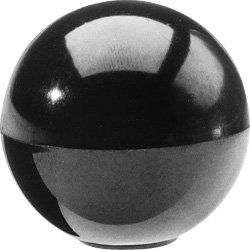 DimcoGray Black Phenolic Ball Knob Female, Brass Insert: 10-32' Thread x 5/16' Depth, 3/4' Diameter x 45/64' Height X 3/8' Hub Dia (Pack of 10)