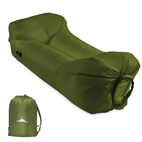 WANDERFALKE Luftsofa aufblasbares Sofa Air Lounger Lazy Bag Luftsack für Outdoor, Camping, Strand, Beach (Tiefgrün)