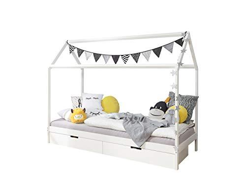 Ticaa Kinderbett Hausbett mit Schubkästen 90x200 cm Kiefer weiß