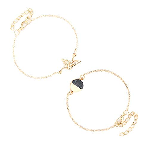 Jewelry Charming Attractive Bracelets for Men/Women & 2Pcs/Set Hollow Dove Round Charm Chain Bracelet Fashion Women Party Jewelry, Best Gift for Her/Him,Colour:Golden (Color : Golden)