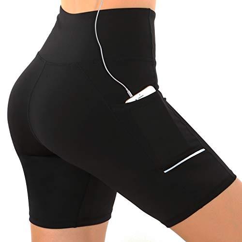 Damen Fitness Damen Shorts,Kurze Yogahose,Capri Dünne Hosen,Schnell trocknende Trainieren Sporthose mit Taschen Elastische Tanzen Workout Hohe Taille Sport Leggings (Schwarz, M)