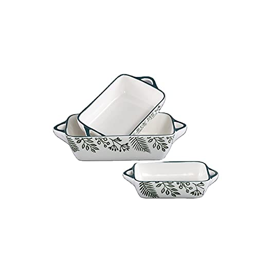 Set 3 Fuentes horno rectangular porcelana original flores
