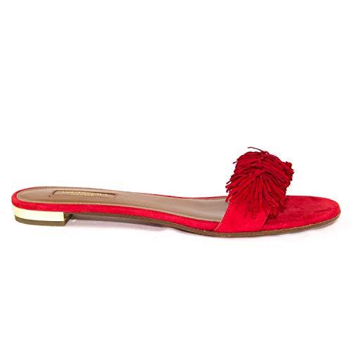 AQUAZZURA Damen Rote Sandalen aus Wildleder (37.5 EU)