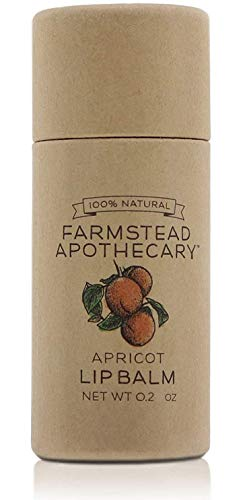 Farmstead Apothecary 100% Natural Lip Balm with Organic Beeswax, Organic Shea Butter & Organic Coconut Oil, 0.2oz (Apricot, Pack of 1)