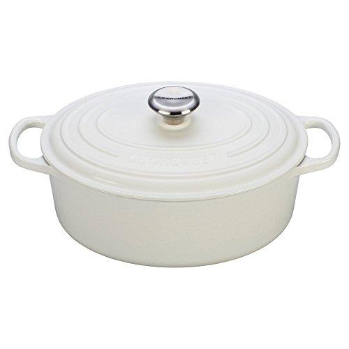 Le Creuset Enameled Cast Iron Signature Oval Dutch Oven, 9.5 qt., White