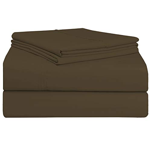Juego de sábana Caramelo de 400 conteo de hilos, 4 piezas de 100% algodón de fibra larga, lujoso suave saten conjunto de hojas, 1 sábana adjustable 1 sábana plana 2 fundas de almohada (Caramelo, King)