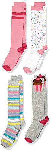 Amazon Brand - Spotted Zebra Kids Girls Knee Socks, 4-Pack Cupcakes, Large