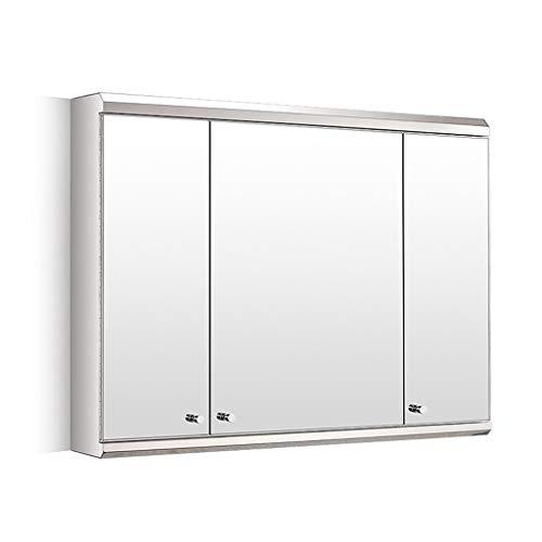 Spiegelschränke Dreitüriger Edelstahl Badezimmerwand Hängeschrank zu Hause Multifunktionsaufbewahrungsschrank Schränke (Color : Silver, Size : 80 * 55 * 13cm)