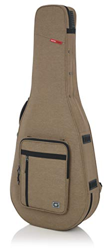Gator Cases Transit Series Lightweight Polyfoam Dreadnaught Style Acoustic Guitar Case; Tan (GTR-DREAD12-TAN)
