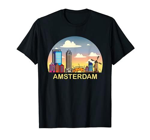 Amsterdam Skyline Niederlande Städtetrip Auswandern T-Shirt