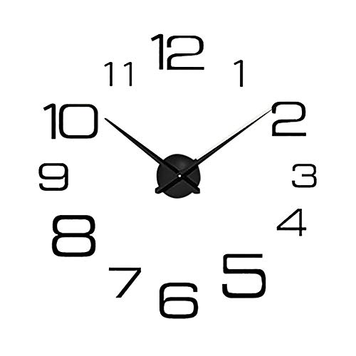 Janly Clearance Sale Reloj de pared digital creativo con espejo de pared para decoración del hogar, reloj para día de Pascua (negro)